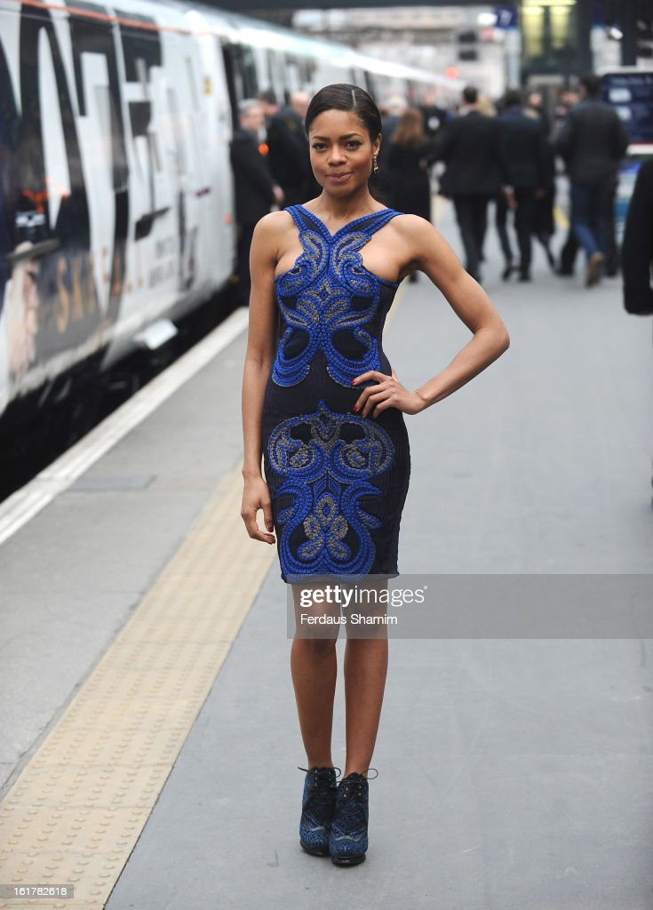 Naomie Harris attends a photocall to unveil the new Skyfall Train at Kings Cross Station on February 16 2013 in London England