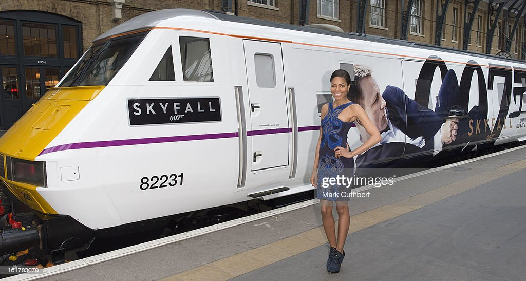 Naomie Harris attends a photocall to unveil the new Skyfall Train on platform 007 at Kings Cross Station on February 16, 2013 in London, England.