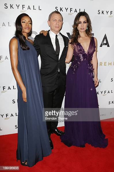 Naomie Harris Daniel Craig and Berenice Marlohe arrive at the 'Skyfall' Australian premiere at the State Theatre on November 16 2012 in Sydney...