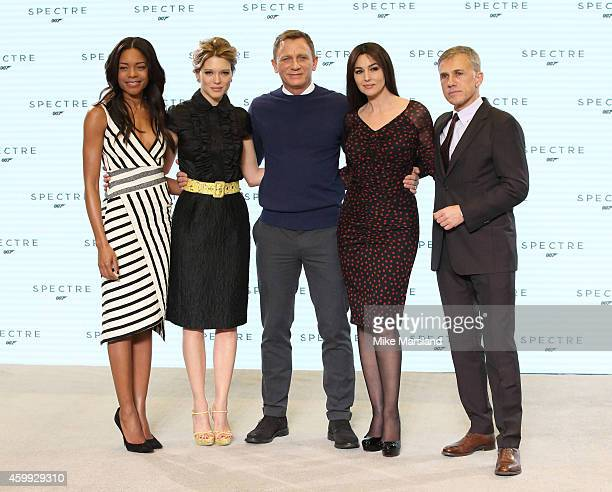 Naomie Harris Lea Seydoux Daniel Craig Monica Bellucci and Christoph Waltz attend a photocall for the new James Bond film Spectre at Pinewood Studios...