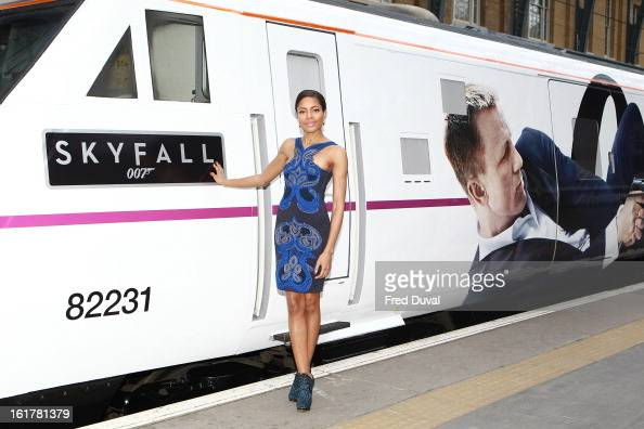 Naomie Harris unveils Skyfall Train at Kings Cross Station on February 16 2013 in London England