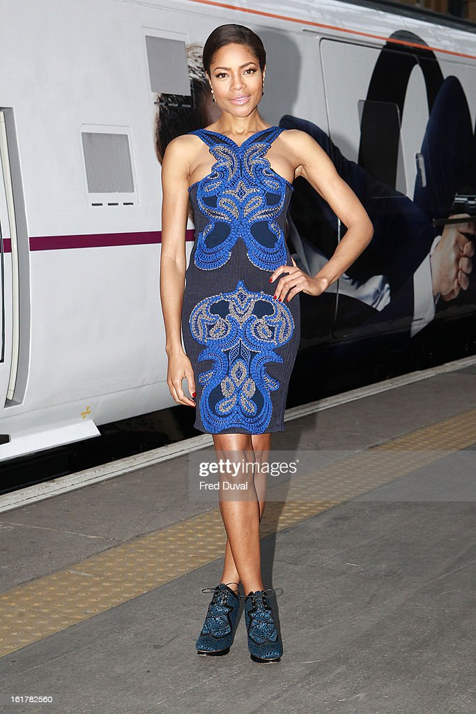 <a gi-track='captionPersonalityLinkClicked' href=/galleries/search?phrase=Naomie+Harris&family=editorial&specificpeople=238918 ng-click='$event.stopPropagation()'>Naomie Harris</a> unveils Skyfall Train at Kings Cross Station on February 16, 2013 in London, England.