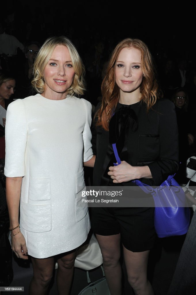 Naomie Watts and <a gi-track='captionPersonalityLinkClicked' href=/galleries/search?phrase=Jessica+Chastain&family=editorial&specificpeople=653192 ng-click='$event.stopPropagation()'>Jessica Chastain</a> attend the Louis Vuitton Fall/Winter 2013 Ready-to-Wear show as part of Paris Fashion Week on March 6, 2013 in Paris, France.