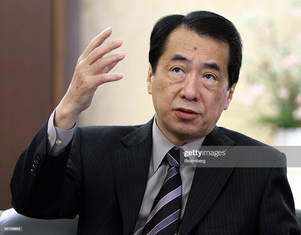 Naoto Kan, Japan's deputy prime and finance minister, speaks during a group interview in Tokyo, Japan, on Thursday, Jan. 14, 2010. Kan, who last year led the government in declaring that Japan is in deflation, succeeded Hirohisa Fujii as finance minister this month. Kan may push the central bank to halt price declines, said Hiromichi Shirakawa, a former central bank official. Photographer: Haruyoshi Yamaguchi/Bloomberg via Getty Images