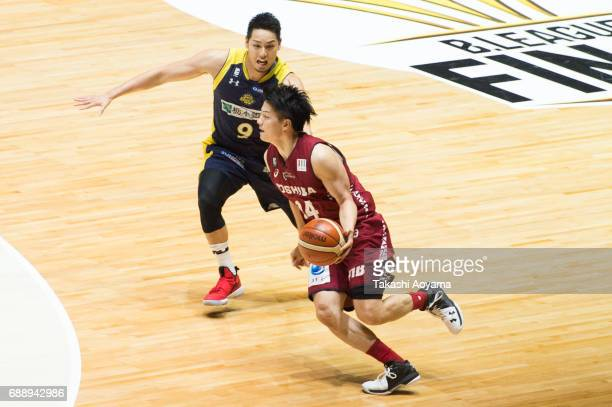 Naoto Tsuji of the Kawasaki Brave Thunders drives to the basket during the B League final match between Kawasaki Brave Thunders and Tochigi Brex at...