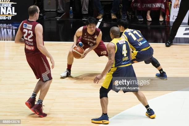 Naoto Tsuji of the Kawasaki Brave Thunders handles the ball during the B League final match between Kawasaki Brave Thunders and Tochigi Brex at...