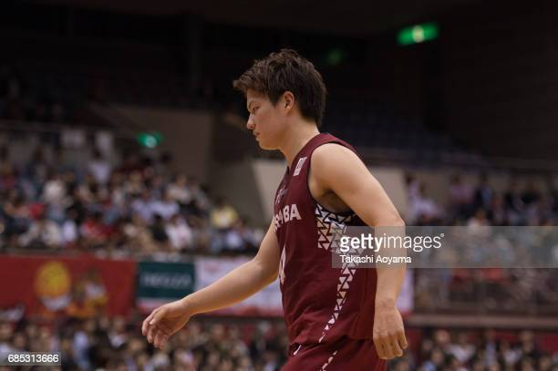 Naoto Tsuji of the Kawasaki Brave Thunders looks on during the B League 2017 semi final match between Toshiba Kawasaki Brave Thunders and Alvark...