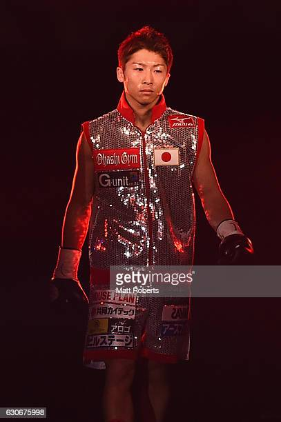 Naoya Inoue enters the arena before the WBO World Super Flyweight Title bout between Naoya Inoue and Kohei Kono of Japan at the Ariake Colosseum on...