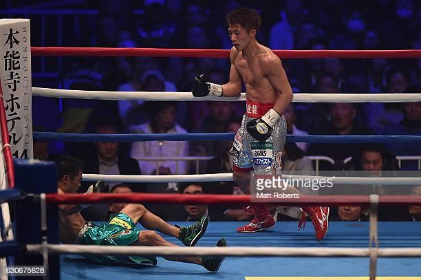 Naoya Inoue knocks down Kohei Kono during the WBO World Super Flyweight Title bout between Naoya Inoue and Kohei Kono of Japan at the Ariake...