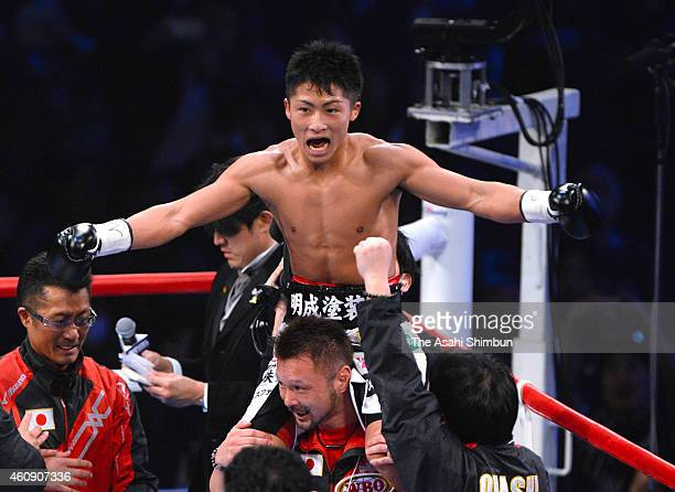 Naoya Inoue of Japan celebrates his secondround knockout victory over Omar Andres Narvaez of Argentina during their WBO Super Flyweight Title bout at...