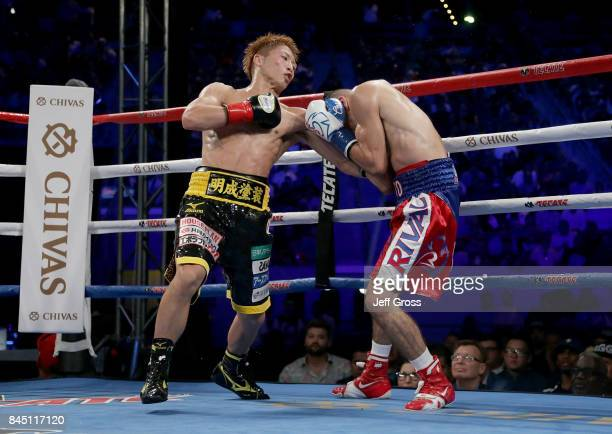 Naoya Inoue of Japan throws a left hand to the body of Antonio Nieves at StubHub Center on September 9 2017 in Carson California