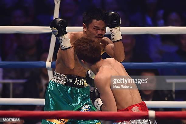 Naoya Inoue punches by Kohei Kono during the WBO World Super Flyweight Title bout between Naoya Inoue and Kohei Kono of Japan at the Ariake Colosseum...