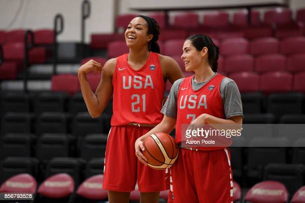 Napheesa Collier and Kelsey Plum of the 2017 USA Women's National Team shoots the ball during training camp at Westmont College on September 30 2017...
