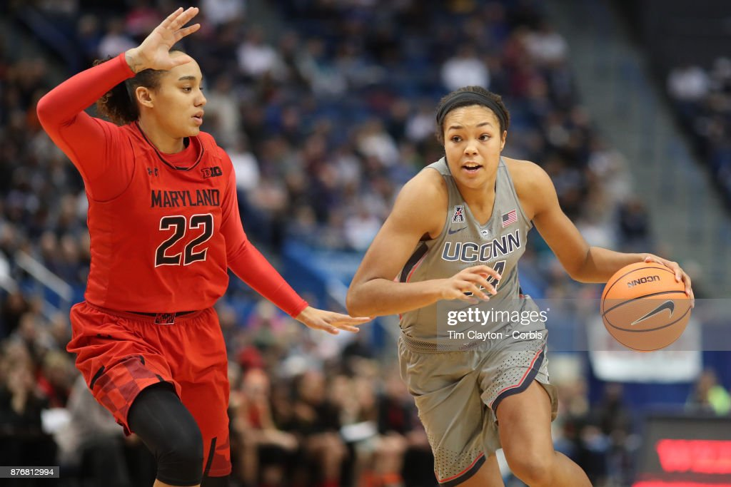 Napheesa Collier #24 of the Connecticut Huskies drives to the basket defended by Blair Watson #22 of the Maryland Terrapins during the the UConn Huskies Vs Maryland Terrapins, NCAA Women's Basketball game at the XL Center, Hartford, Connecticut. November 19th, 2017