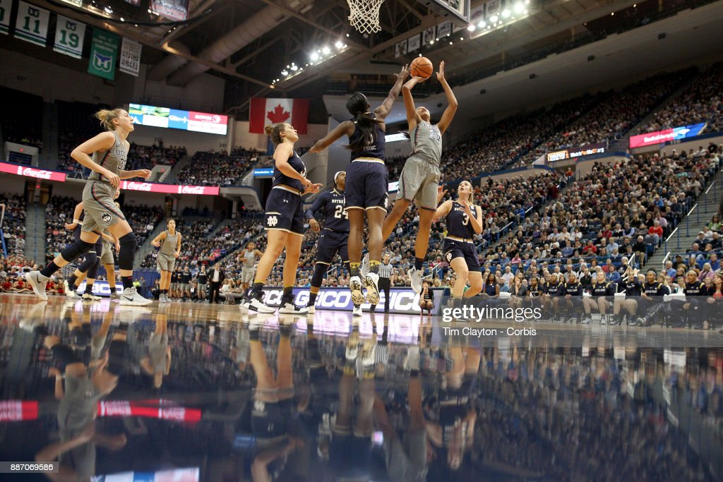 Napheesa Collier #24 of the Connecticut Huskies drives to the basket during the the UConn Huskies Vs Notre Dame, NCAA Women's Basketball game at the XL Center, Hartford, Connecticut. December 3, 2017