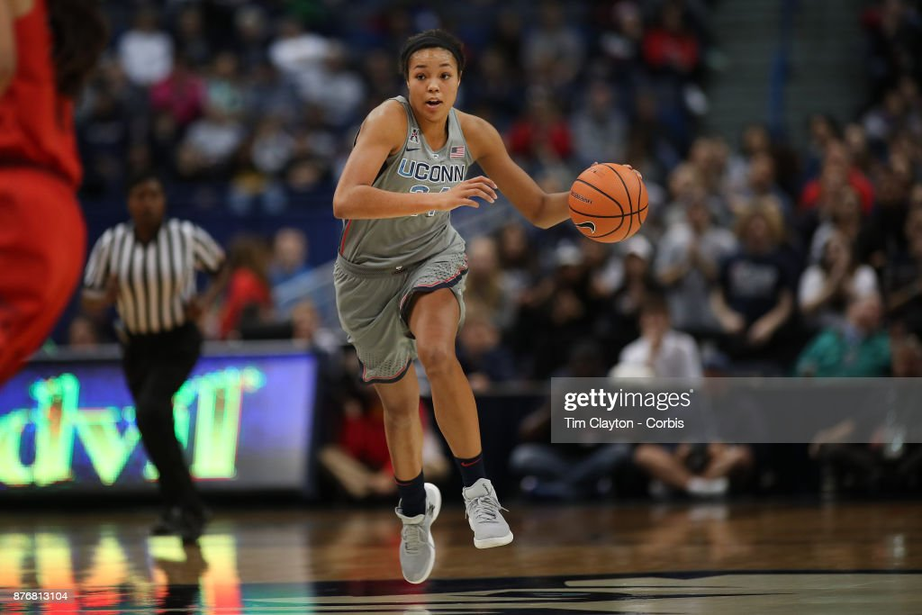 Napheesa Collier #24 of the Connecticut Huskies in action during the the UConn Huskies Vs Maryland Terrapins, NCAA Women's Basketball game at the XL Center, Hartford, Connecticut. November 19th, 2017