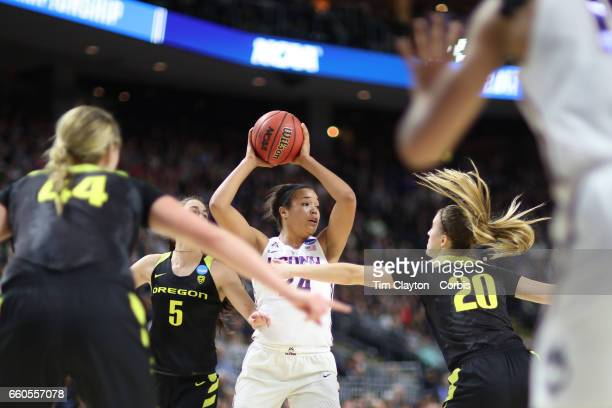 Napheesa Collier of the Connecticut Huskies in action during the UConn Huskies Vs Oregon Ducks NCAA Women's Division 1 Basketball Championship game...