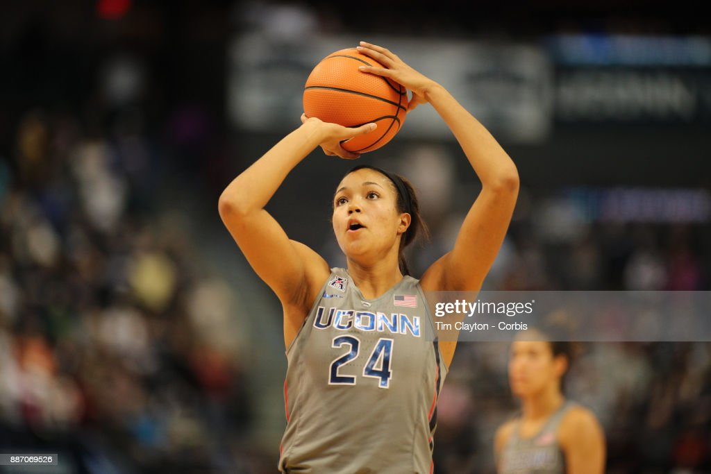 Napheesa Collier #24 of the Connecticut Huskies shoots a free throw during the the UConn Huskies Vs Notre Dame, NCAA Women's Basketball game at the XL Center, Hartford, Connecticut. December 3, 2017
