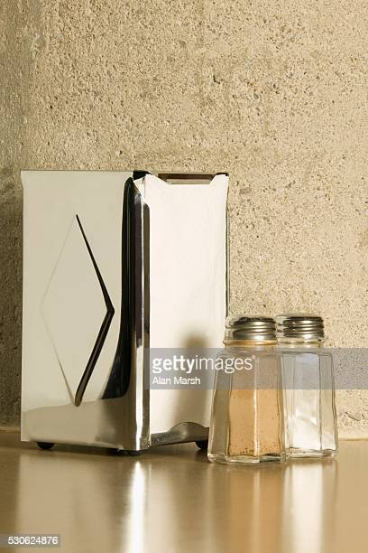 Napkin Dispenser and Salt and Pepper Shakers