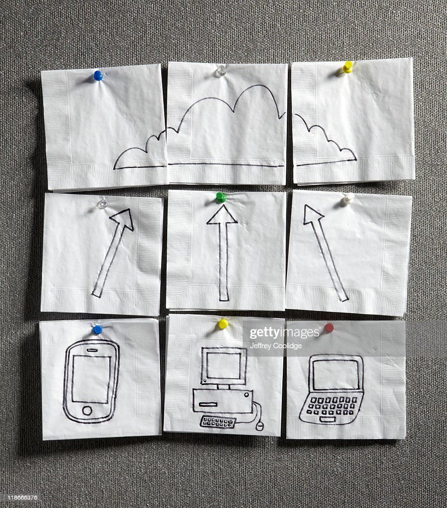 Napkins with Cloud Computing Doodle : Stock Photo