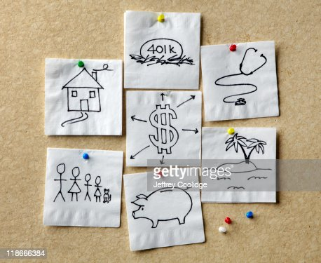Napkins with Personal Finance Concepts : Stock Photo