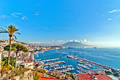 day view of Naples from Posillipo with Mediterranean sea and Vesuvius mount