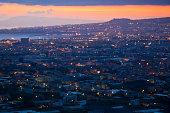 Naples (Napoli, Campania, Italy) By Night. Long exposure. Grainy.