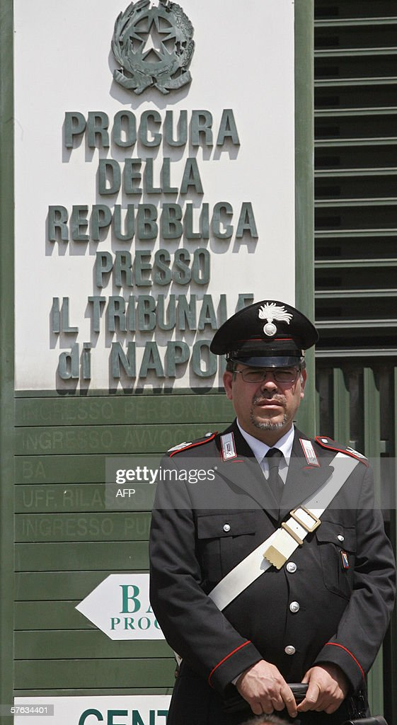 Italian Carabinieri stands in front public prosecutor's office in Naples 17 May 2006 as Rome and Naples prosecutors Maria Cristina Palaia Luca...