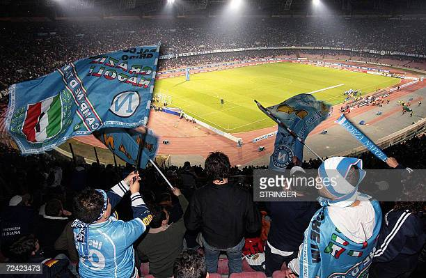 Naples' fans cheer on their team during their Italian Serie B football match against Juventus at San Paolo stadium in Naples 06 November 2006 AFP...
