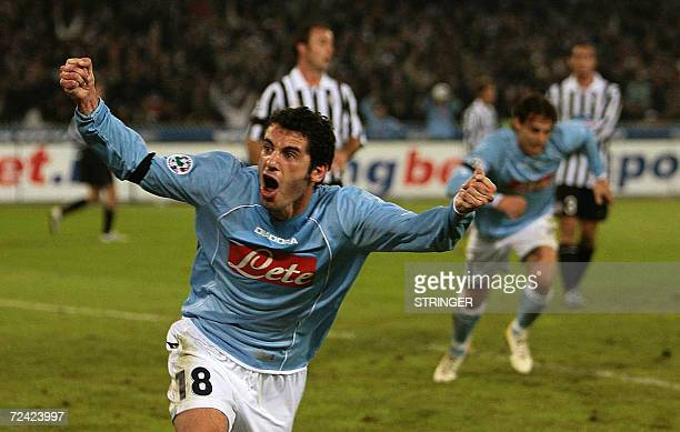 Naples' Mariano Bogliacino celebrates after scoring against Juventus during their Italian Serie B football match at San Paolo stadium in Naples 06...