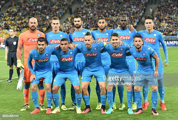 Naples players pose ahead of the Champions League football match between FC Dynamo and SSC Napoli at the Olympiyski Stadium in Kiev on September 13...