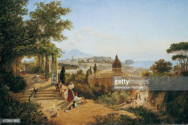 'Naples seen from the Slopes of the Vomero by Carl Wilhelm Goetzloff 19th Century oil on canvas Private collection Whole artwork view Alongside of a...