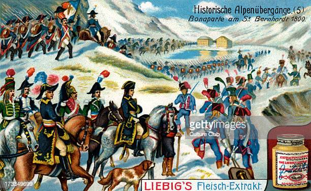 Napoleon at the SaintBernard Pass May 1800 Leading Reserve Army into Italy during War of the Second Coalition Illustration from Liebig collectible...