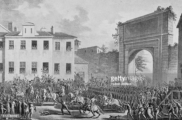 Napoleon Bonaparte and the French Army of Italy occupies Milan during the Italian campaigns of the French Revolutionary Wars on 14 May 1796 at Milan...