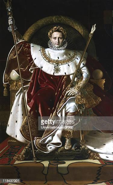 Napoleon Bonaparte as Emperor Napoleon I on Imperial throne in full regalia Jean Auguste Dominique Ingres French painter
