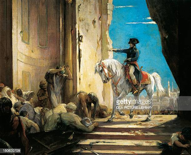 Napoleon Bonaparte in the Grand Mosque in Cairo in 1798 painting by Henri Leopold Levy ca 1890 oil on canvas Detail French Revolutionary Wars Egypt...