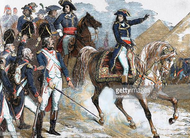 Napoleon Bonaparte Military and political leader of France and Emperor of the French as Napoleon I Battle of the Pyramids Colored engraving