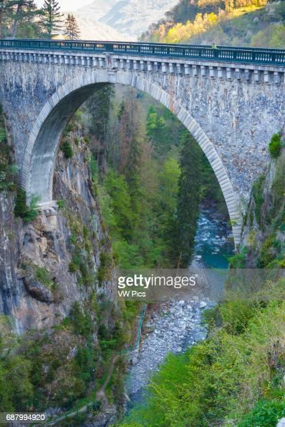 Napoleon Bridge and Gave de Gavarnie river LuzSaintSauveur HautesPyrenees department MidiPyrenees region France Europe