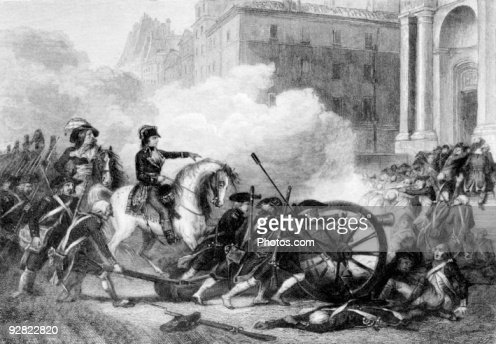 Napoleon defeating counter-revolutionaries, French Revolution, 18th century : Stock Photo
