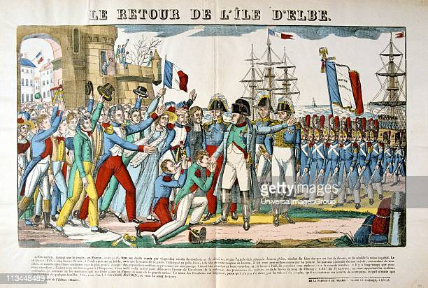 Napoleon I returning to France from exile in Elba 26 February 1815 welcomed by his supporters Nineteenth century popular French coloured woodcut