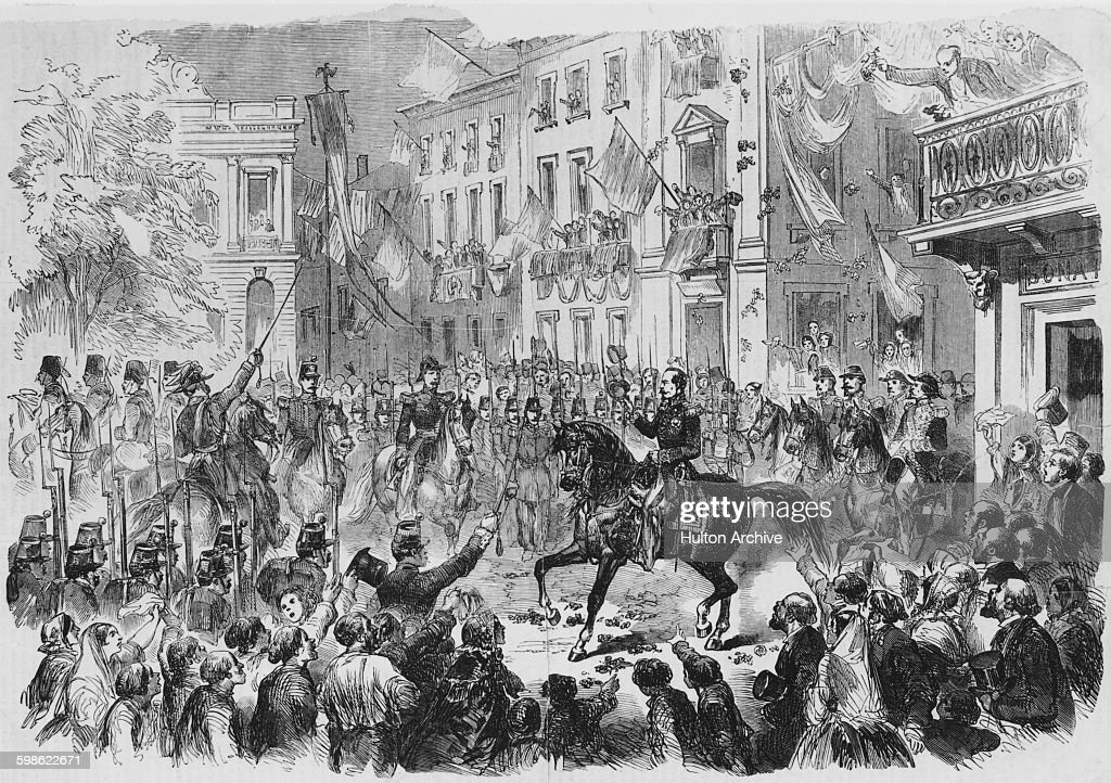 <a gi-track='captionPersonalityLinkClicked' href=/galleries/search?phrase=Napoleon+III&family=editorial&specificpeople=79405 ng-click='$event.stopPropagation()'>Napoleon III</a>, Emperor of the Second French Empire and Victor Emmanuel II arrive in Alessandria during the Second Italian War of Independence, also called the Franco-Austrian War on14th May 1859 at Alessandria, Italy. (Photo by Illustrated London News/Hulton Archive/Getty Images).