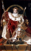 'Napoleon on his Imperial Throne' 1804 Napoleon Bonaparte assumed the title of Emperor of France on 18 May 1804 Found in the collection of the Musée...
