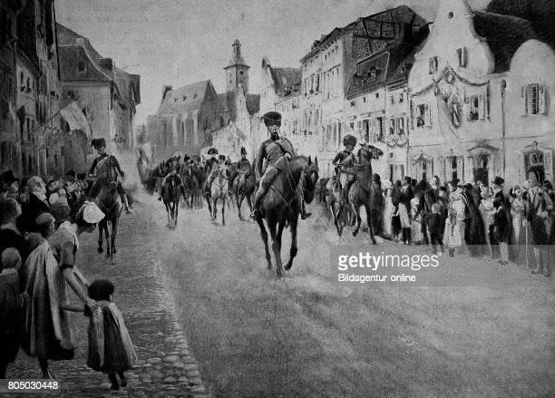 Napoleon passes through a city historical illustration