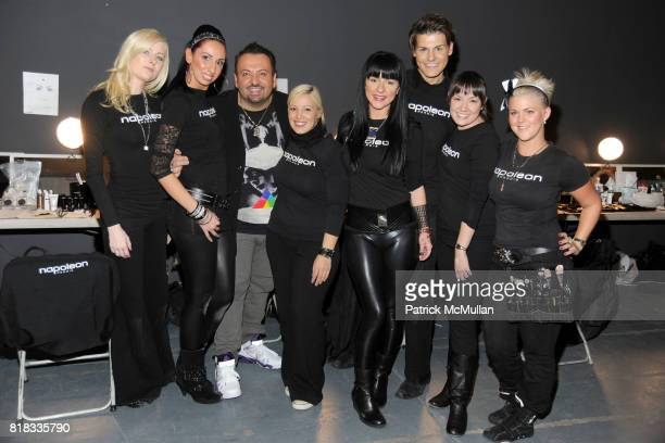 Napoleon Perdis and his crew attends ELISE OVERLAND Fall 2010 Collection at Exit Art on February 13 2010 in New York City
