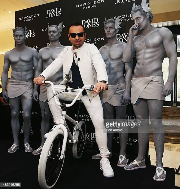 Napoleon Perdis poses on a BMX bike in the David Jones Elizabeth Street Store on March 5 2015 in Sydney Australia