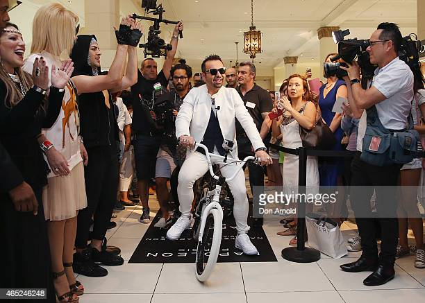 Napoleon Perdis rides a BMX bike into the David Jones Elizabeth Street Store on March 5 2015 in Sydney Australia