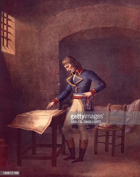 Napoleon prisoner at Fort Carre in Antibes in August 1794 lithograph French Revolution France 18th century