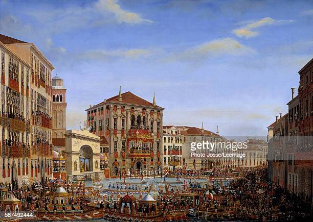 Napoleon's visit to Venice from 28 November to 8 December 1807 The Emperor presiding over a regatta on the Grand Canal from the Baldi palace's...