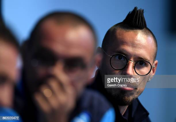 Napoli captain Marek Hamsik speaks to the media during a press conference at Etihad Stadium on October 16 2017 in Manchester England