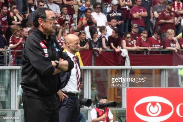 Napoli coach Maurizio Sarri and Torino coach Attilio Lombardo during the Serie A match between FC Torino and SSC Napoli at Stadio Olimpico di Torino...